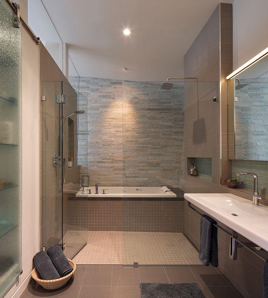 Wonderful Stacked Stone Wall Tile Decorating Ideas Gallery In Bathroom Contemporary Design Ideas Bath Shower Combination Modern Baths Modern Tub