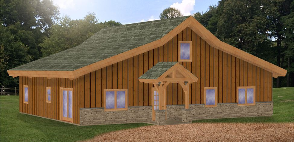 Pre Designed Barn Home Ponderosa Country Barn 3D Model 1,800sq. Ft.  Rendering