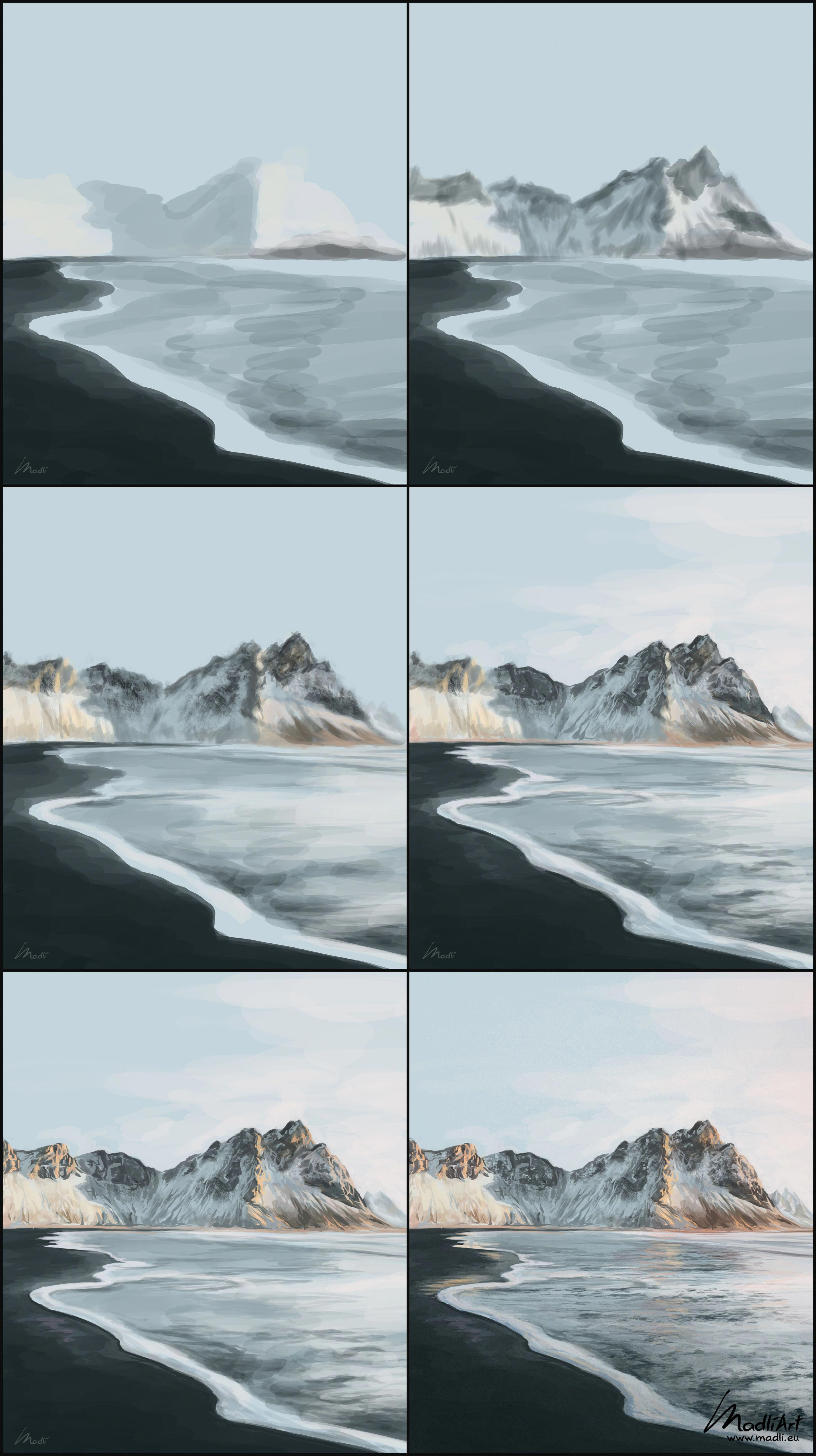 How To Paint Sandy Black Beach Scene Digital Painting Of Iceland Volcanic Beach Wit Concept Art Drawing Landscape Painting Tutorial Digital Painting Photoshop