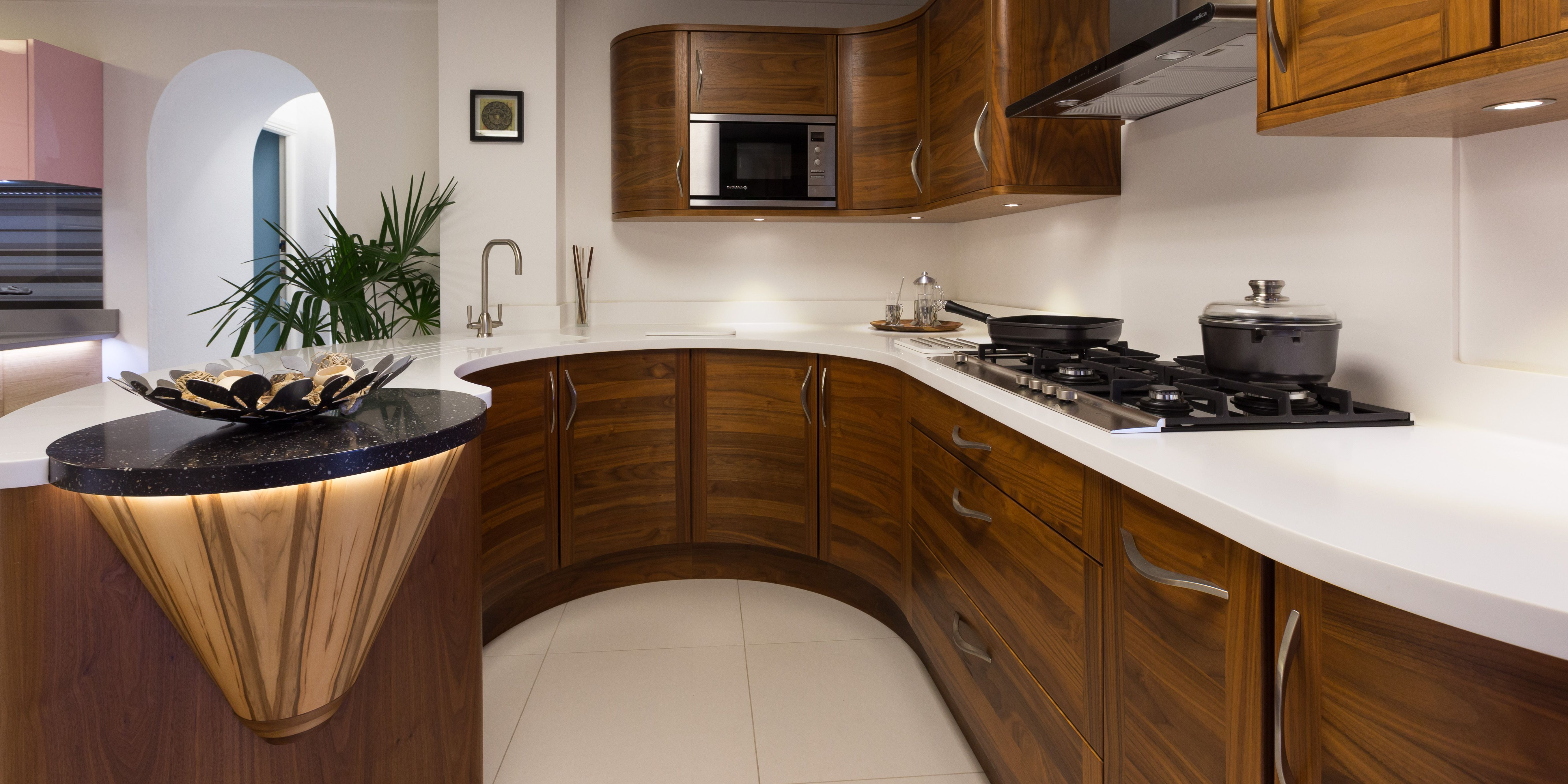 Curves Galore In This Stoneham Elan Display In Our Southampton Kitchen Showroom Kitchen Showroom Kitchen Kitchen Cabinets