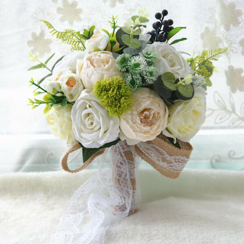 Handmade Rose Peony Lace Wedding Bridal Bouquet Silk Flowers Ivory