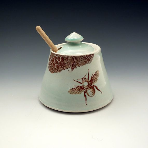 Celadon glazed honey pot with bees buzzing and honeycomb by emily murphy, $50.00
