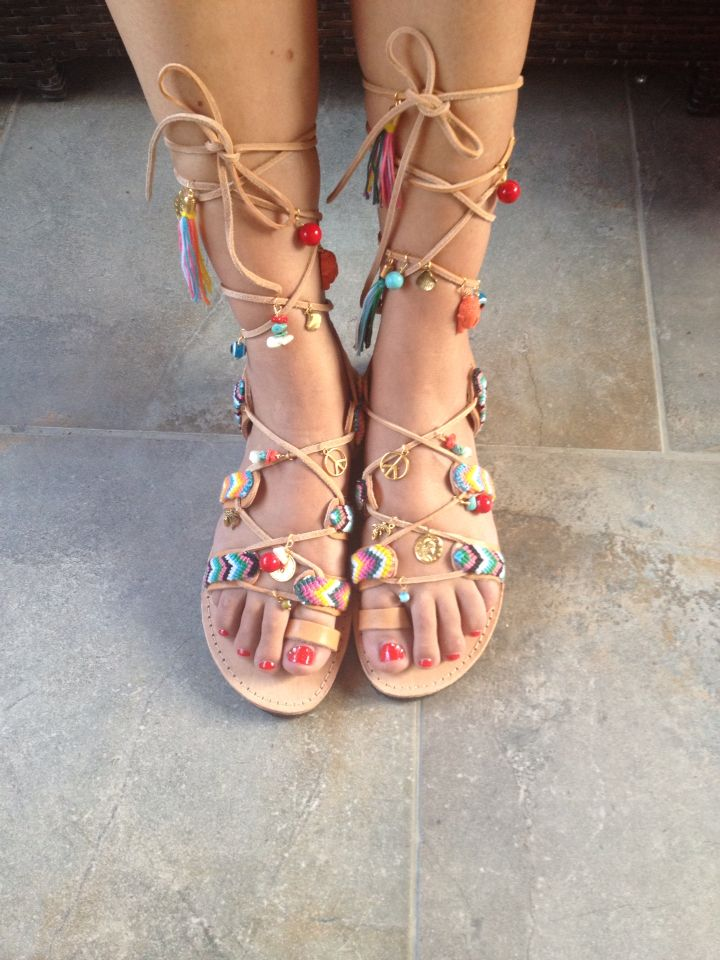 "Handmade Greek leather gladiator sandals ""Bohemian rhapsody"" design stories handmade collection by Eleni petraki - Made on order with knotted macrame semi precious stones corals turquoise moonstone metals parts"