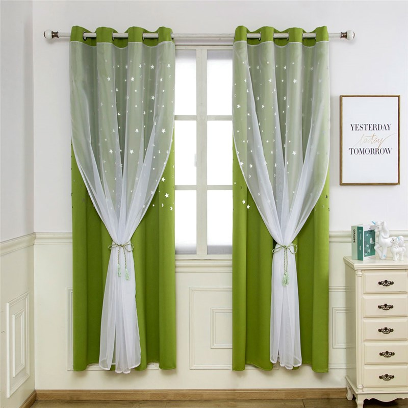 Ready Made Curtain Solid Color Curtain With Sheer Curtain Bedroom