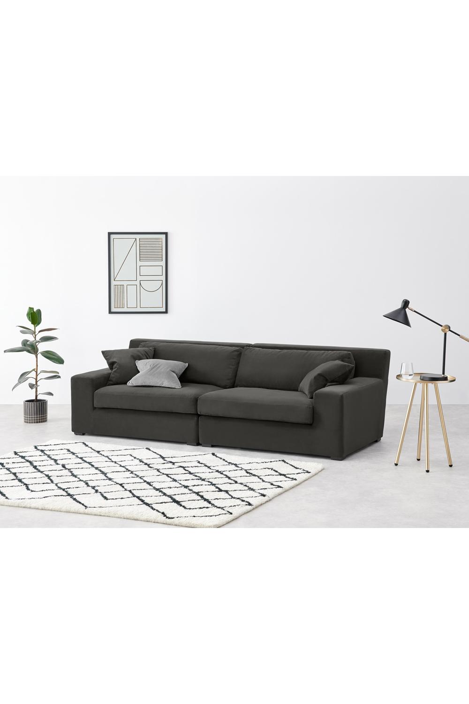 Delaney 3-Sitzer Sofa, Samt in dunklem Blaugrau