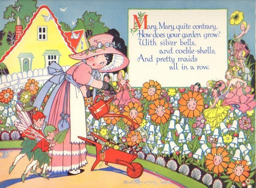 Vintage Nursery Rhyme Print Mary Mary Quite Contrary & Fairies...