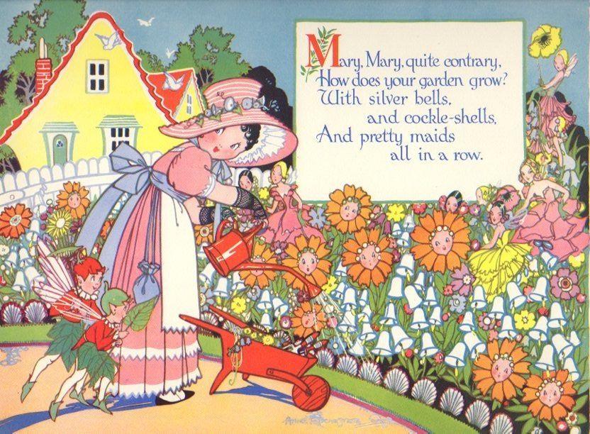 Vintage Nursery Rhyme Print Mary Mary Quite Contrary & Fairies... | Vintage  nursery, Nursery rhymes, Children's book illustration