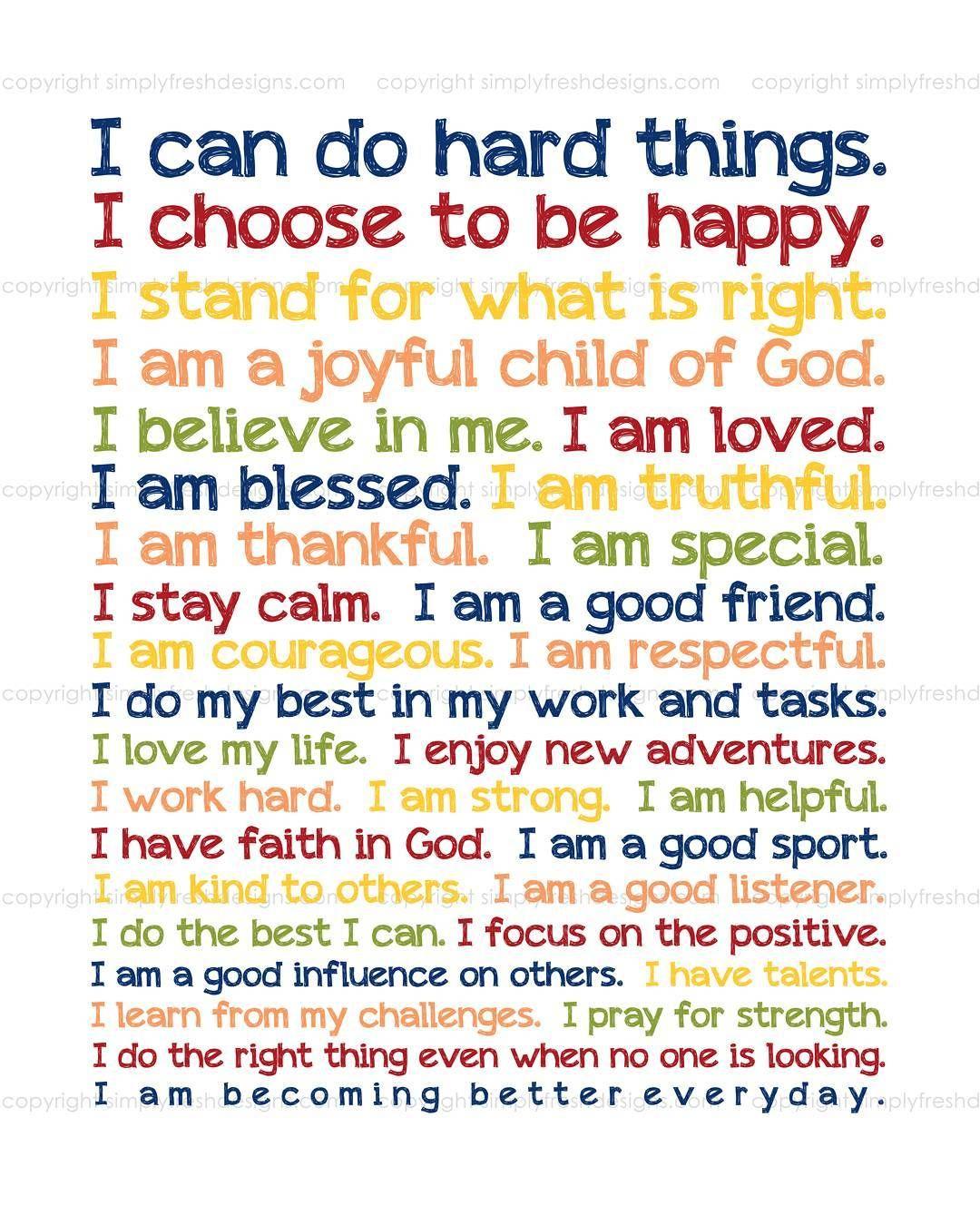 Image result for positive affirmations FOR KIDS