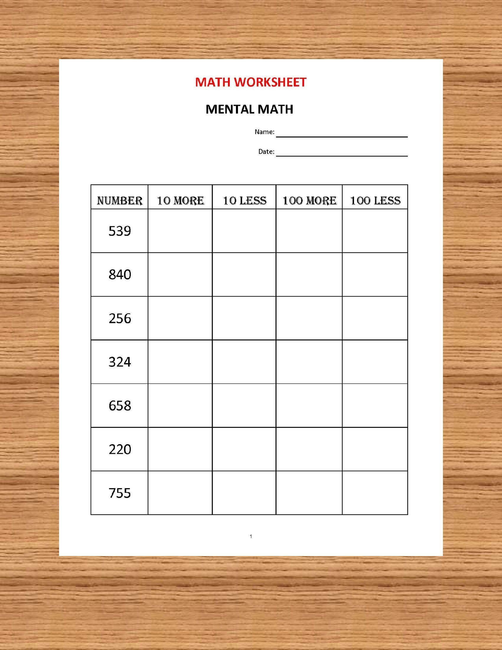 Kindergarten Math Worksheet Mental Math 10 Math