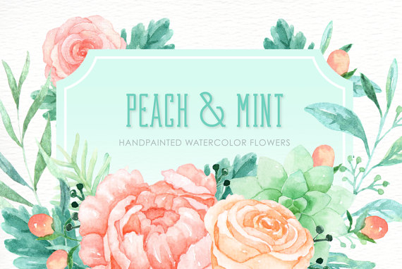 Peach And Mint Watercolor Clipart Hand Drawn Romantic Etsy Watercolor Flowers Clip Art Watercolor Clipart