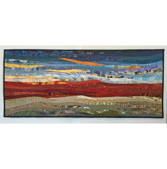 Quilted hanging. Landscape art. Original quilt. by AnnBrauer