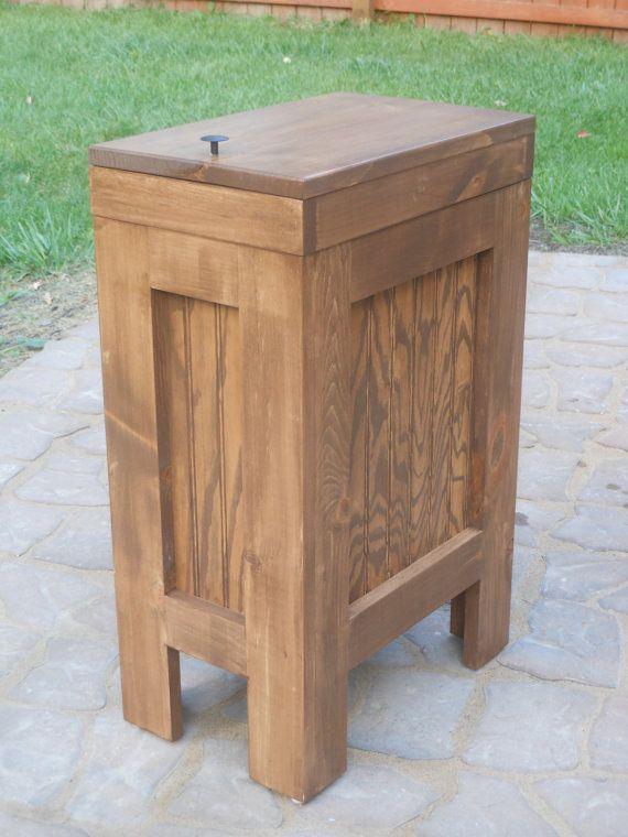 Wood Trash Bin Kitchen Garbage Can Walnut Stain By BuffaloWoodShop, $99.99