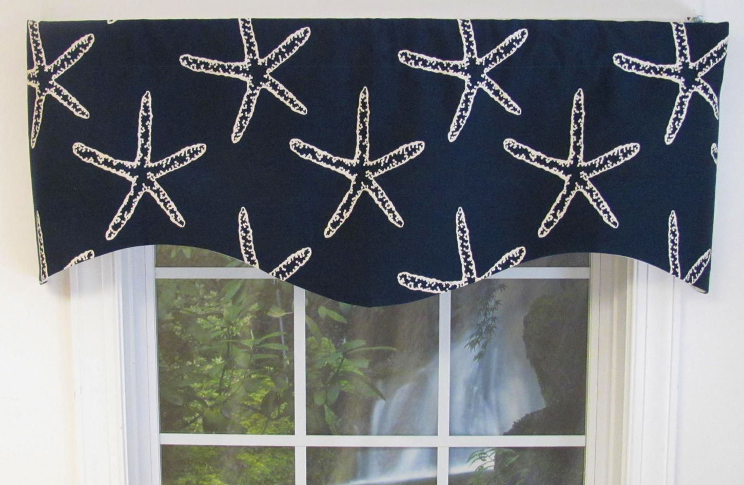 Starfish M Valance White On Navy Thecurtainshop Com White Valance Valance Blue And White
