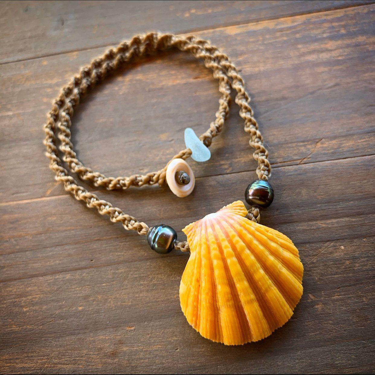 Hawaiian sunrise shell with Tahitian pearls necklace with locking seaglass clasp