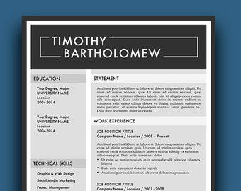 Resume Template / CV Template Cover Letter for by ResumeFoundry