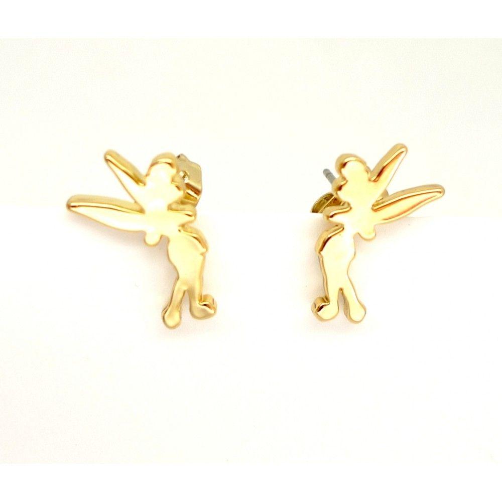 Disney White Gold-Plated Standing Tinkerbell Stud Earrings 82Xm8KGep