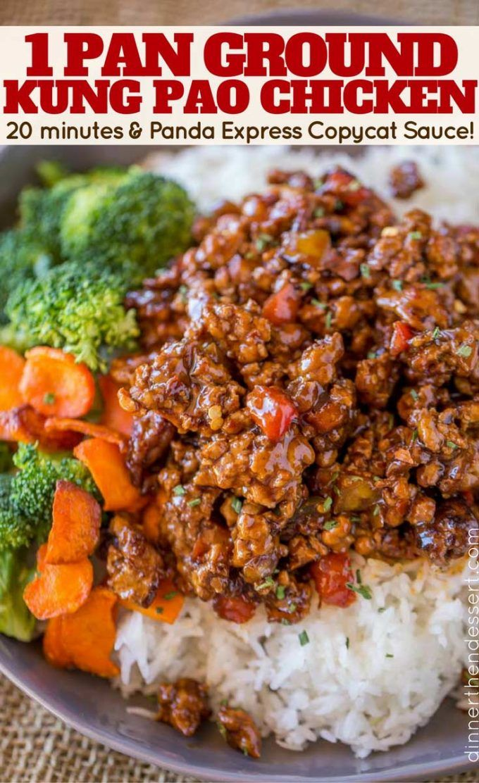 Ground Kung Pao Chicken (1 Pan!) - Dinner, then Dessert