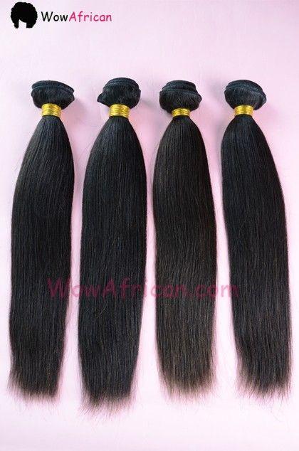 Natural Color Yaki Straight Brazilian Virgin Hair Weave 4pcs Bundle