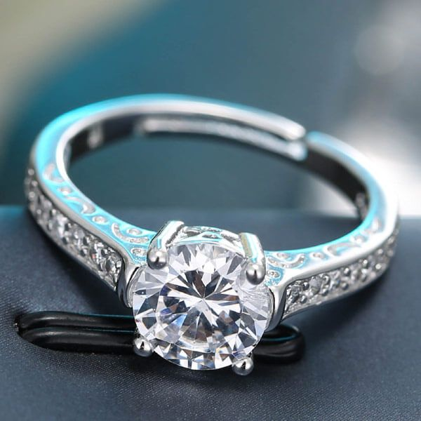 Silver Imitation Zircon Wedding Band Ringsilver Ring Now At Www