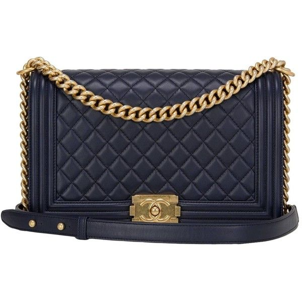 Pre-owned Chanel Navy Quilted Calfskin Medium Boy Bag ($6,450 ... : navy quilted handbag - Adamdwight.com
