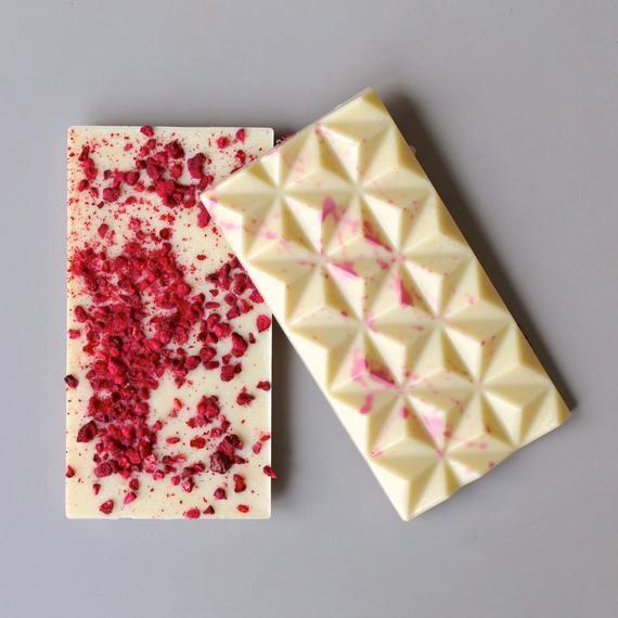 Vegan White Chocolate Raspberry - Dairy Free Chocolate with Freeze Dried Raspberries - Perfect for V