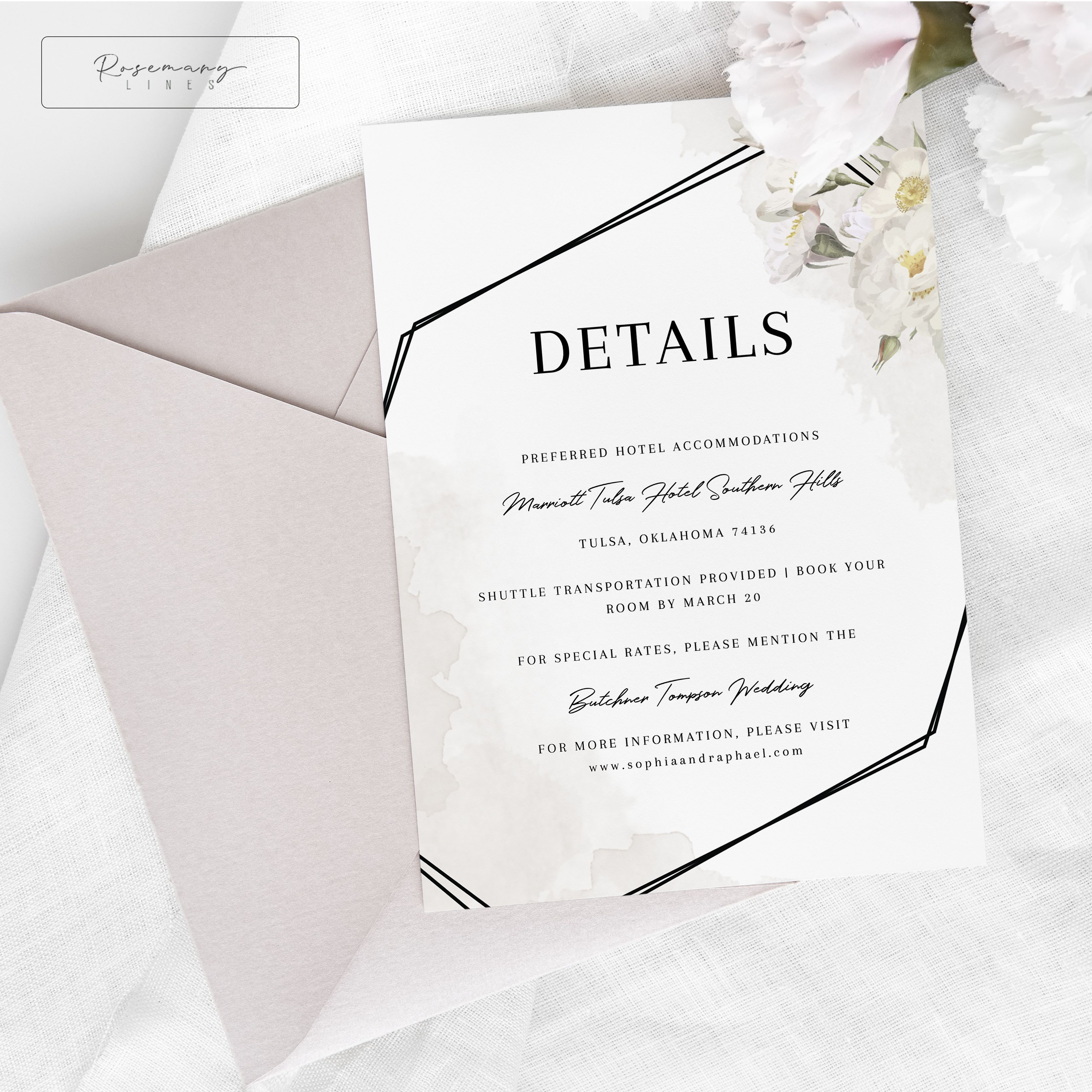 White Floral Geometric Wedding Details Template Instant Download Try Before You Buy Geometric Wedding Geometric Wedding Invitation Wedding Details Card