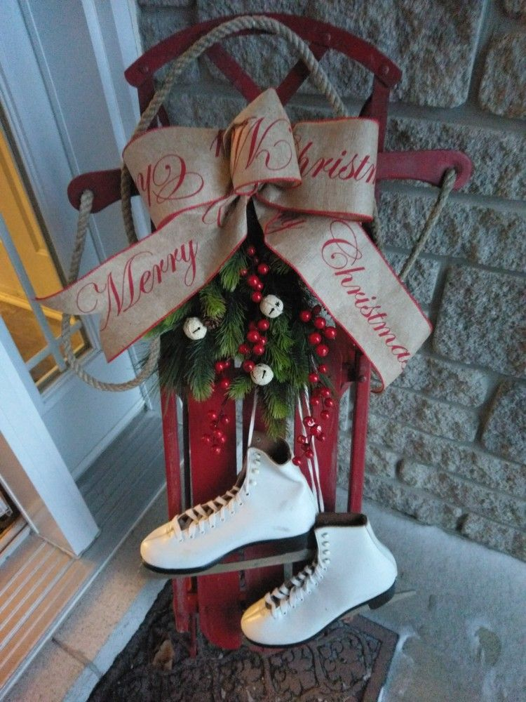 antique sled festive for the holidays christmas pinterest diys - Vintage Sled Christmas Decoration
