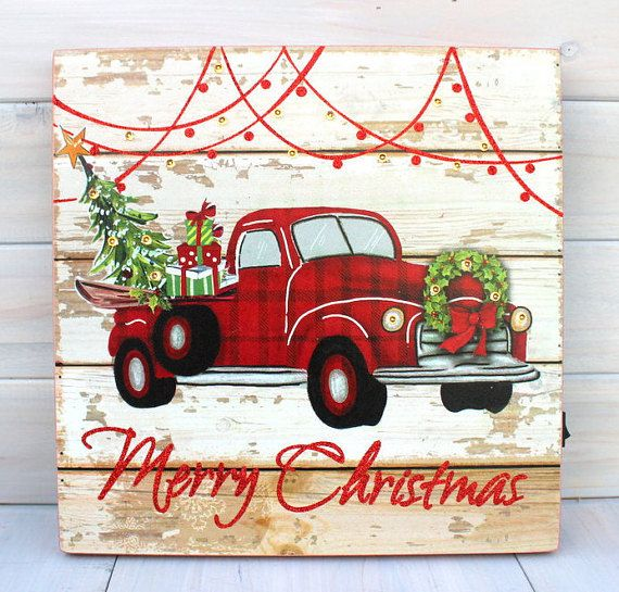 Truck With Christmas Tree Sign, Farmhouse Christmas Sign