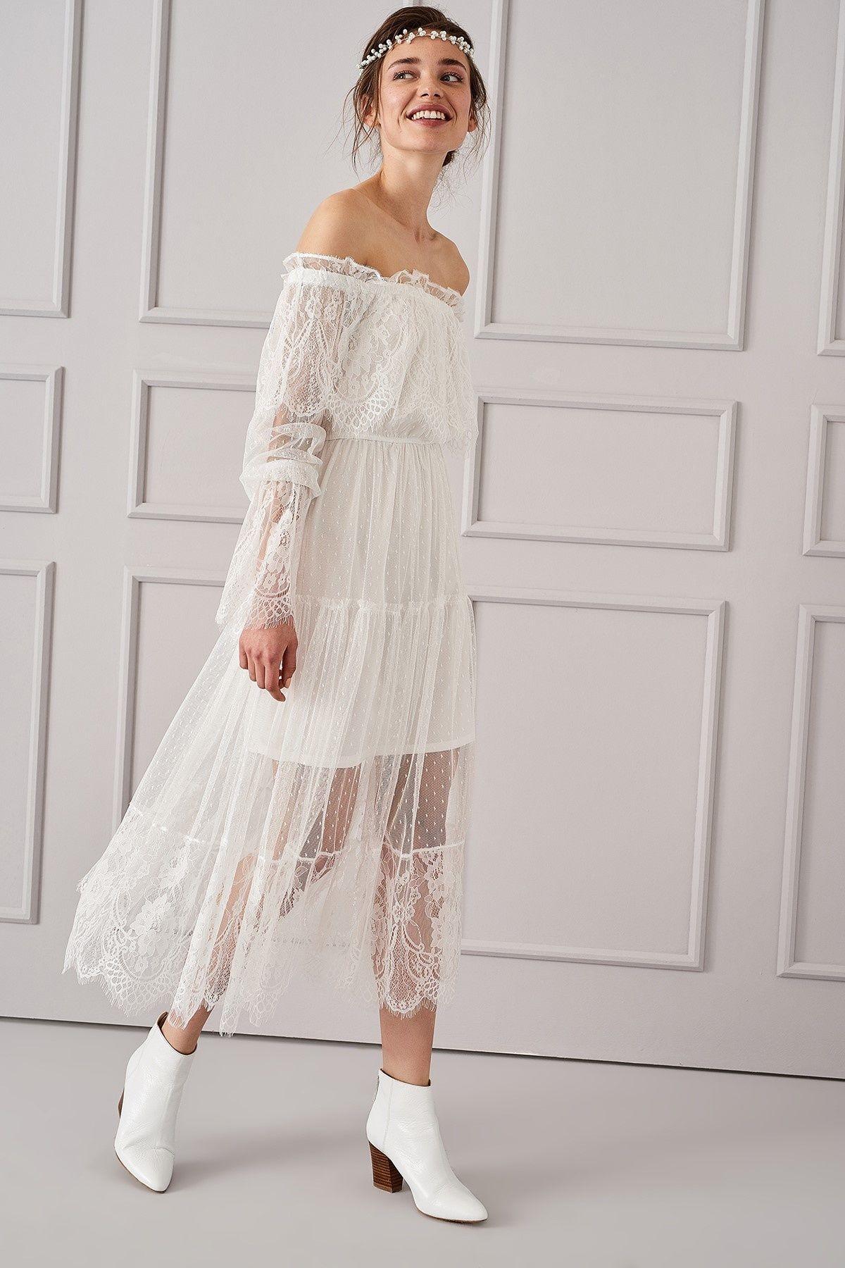 Ekru Carmen Yaka Elbise Trendyolmilla Trendyol Elbise The Dress Giyim