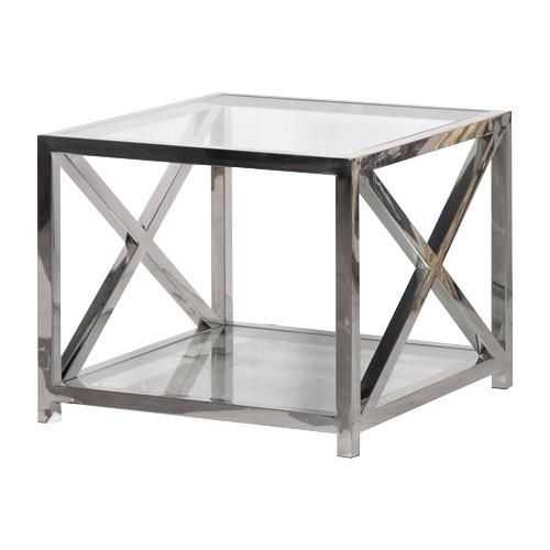Perfect Boston Solid Stainless Steel U0026 Glass Criss Cross Side Table