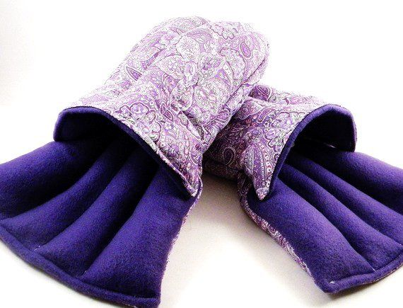 Microwave Heat Pack Slippers Footwarmers Heating Pad Rice Flax Warm Up Feet Purple Paisley