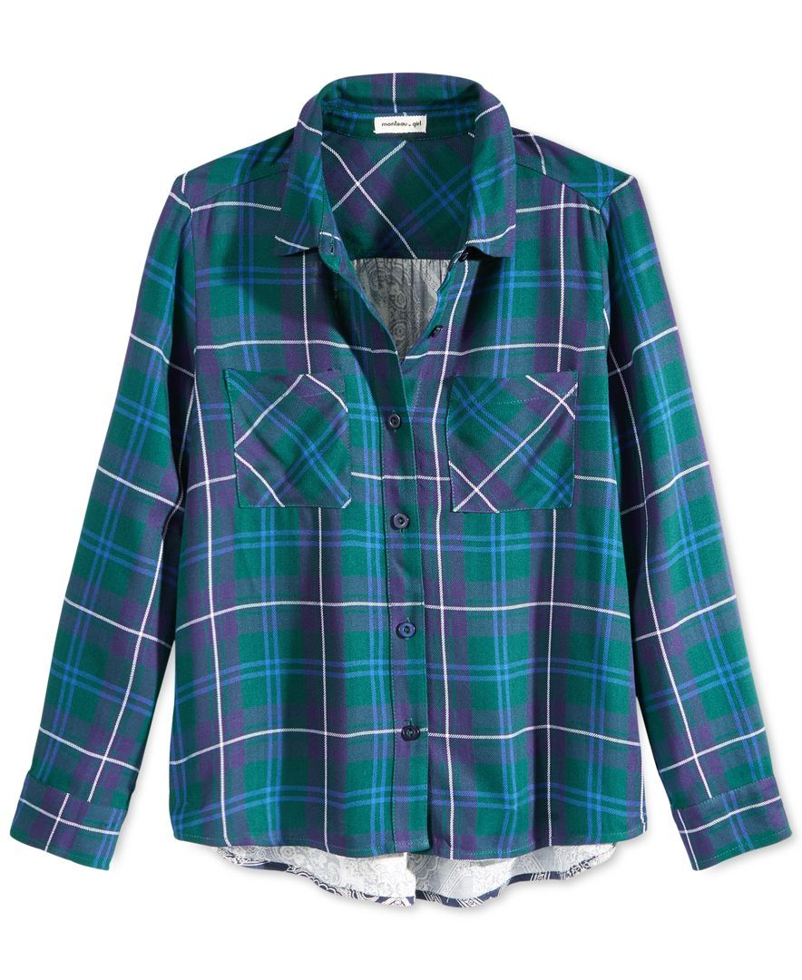 Flannel shirt for girls  Monteau Girlsu Woven Plaid Shirt  Products  Pinterest  Baby