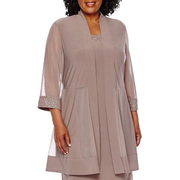 8636a694b57 R M Richards Long-Sleeve Duster Jacket Dress - Plus - JCPenney ...