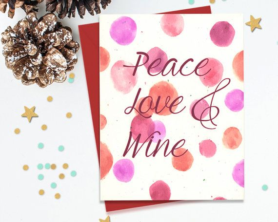 Peace love and wine holiday card set funny greeting cards blank peace love and wine holiday card set funny greeting cards blank card set m4hsunfo Images