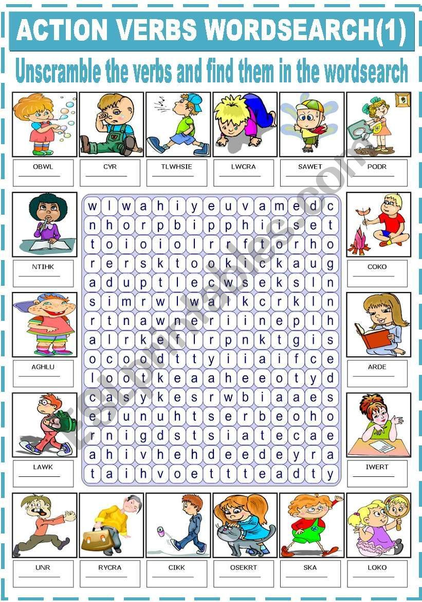 Students Unscramble The Words And Find Them In The Wordsearch Enjoy Action Verbs Verb Words Action Words [ 1169 x 821 Pixel ]
