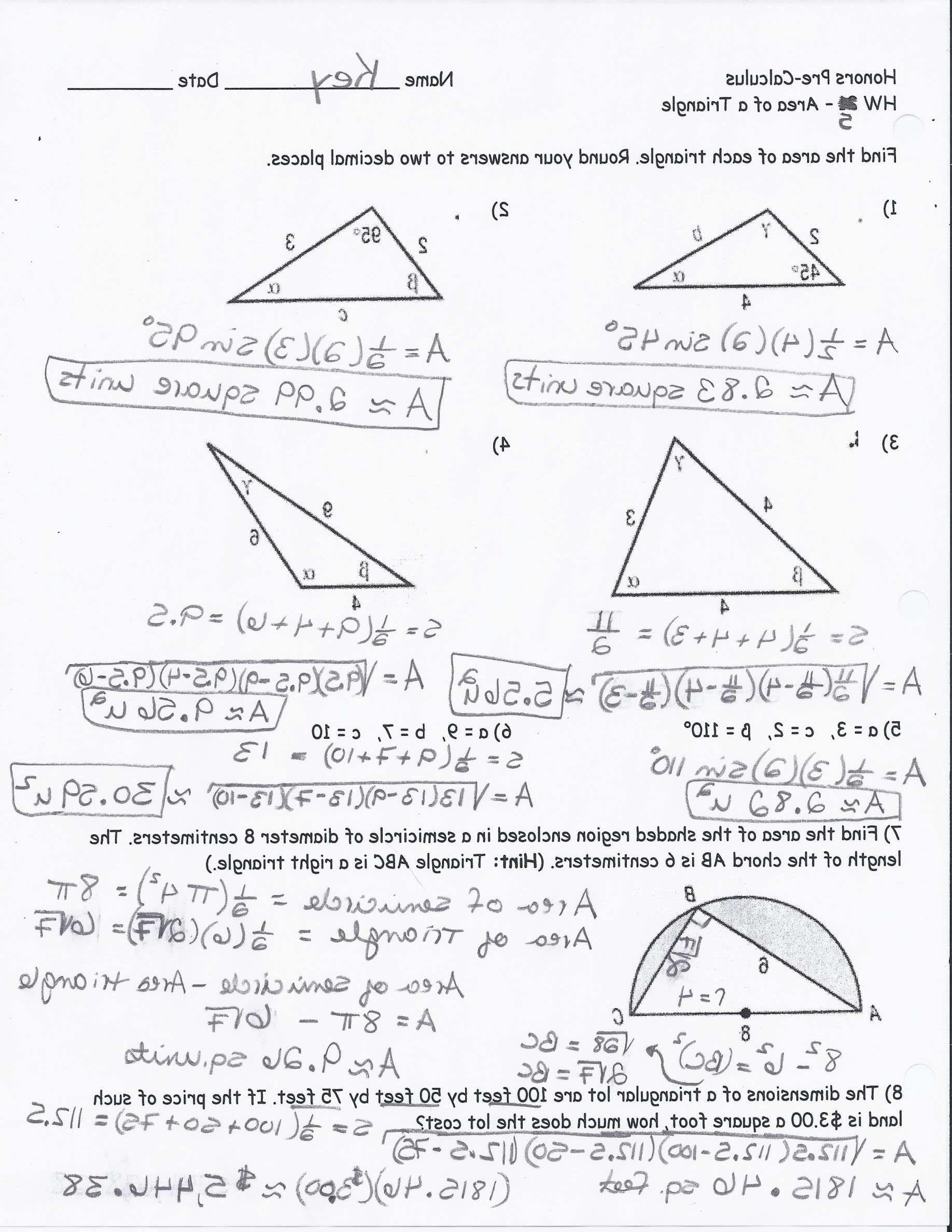 11 Right Triangle Trigonometry Worksheet Work