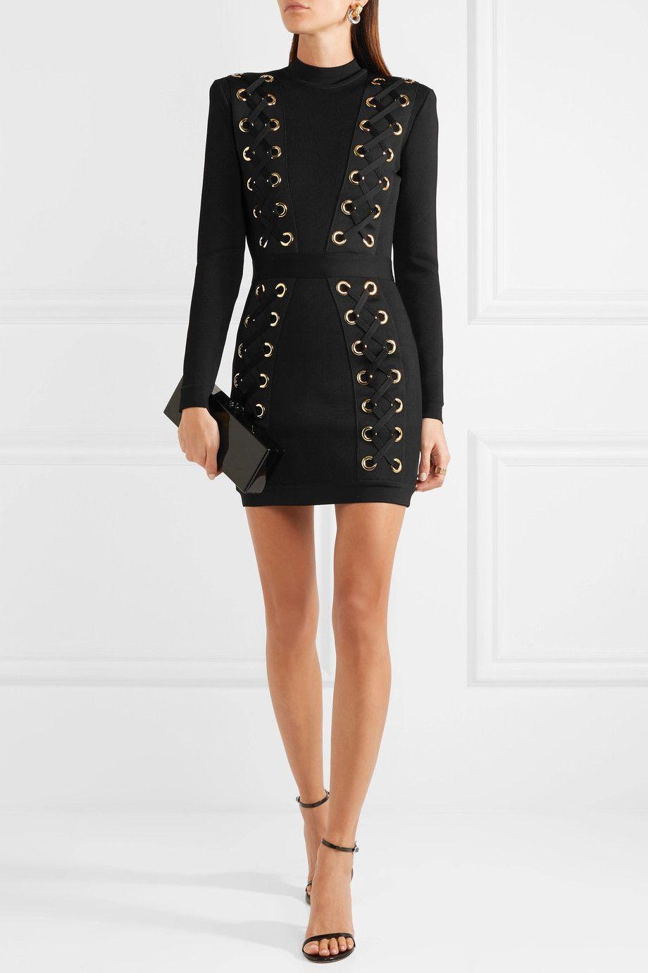 487434d2e7ec BALMAIN Lace-up stretch-jersey mini dress