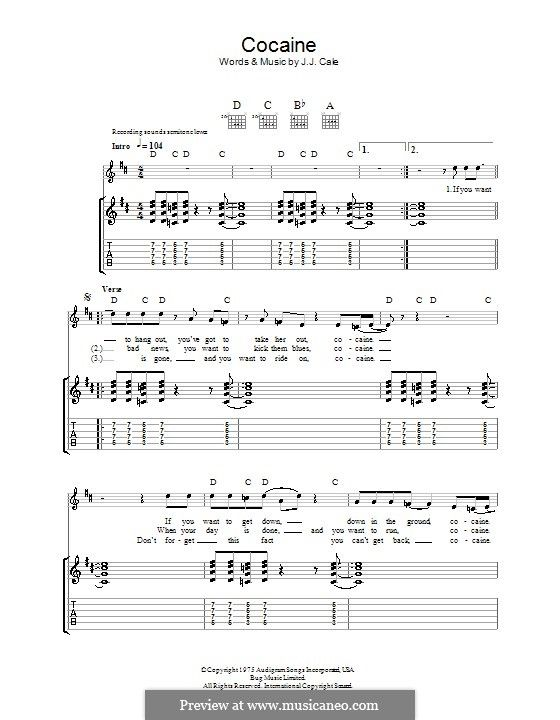 Cocaine For Guitar With Tab By Jj Cale Music I Love Sheet