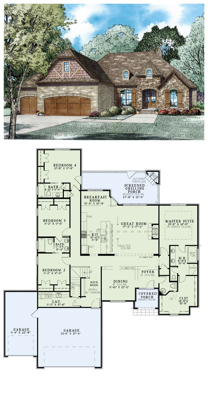 French country house plan 82236 total living area 2413 for Brick house floor plans