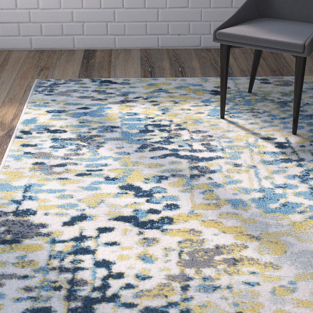 Ladson Yellow Blue Area Rug Grey Bedroom With Pop Of Color Blue