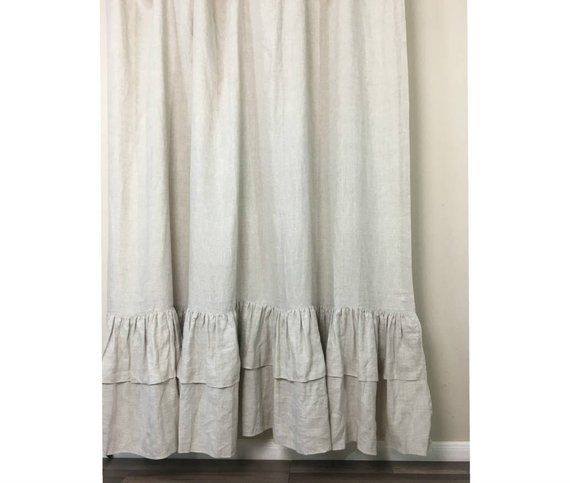 Natural Linen Shower Curtains With Two Tiered Of Mermaid Long