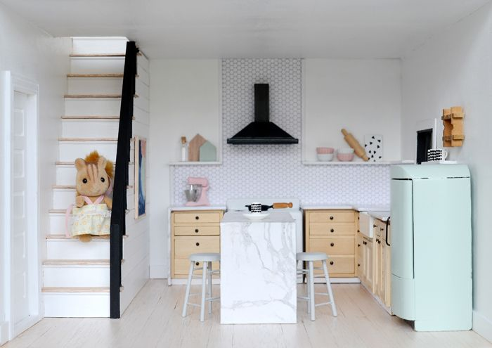 I M So Excited To Share With You My Little Modern Farmhouse Kitchen And To See What Everyone Dolls House Interiors Modern Dollhouse Furniture Modern Dollhouse
