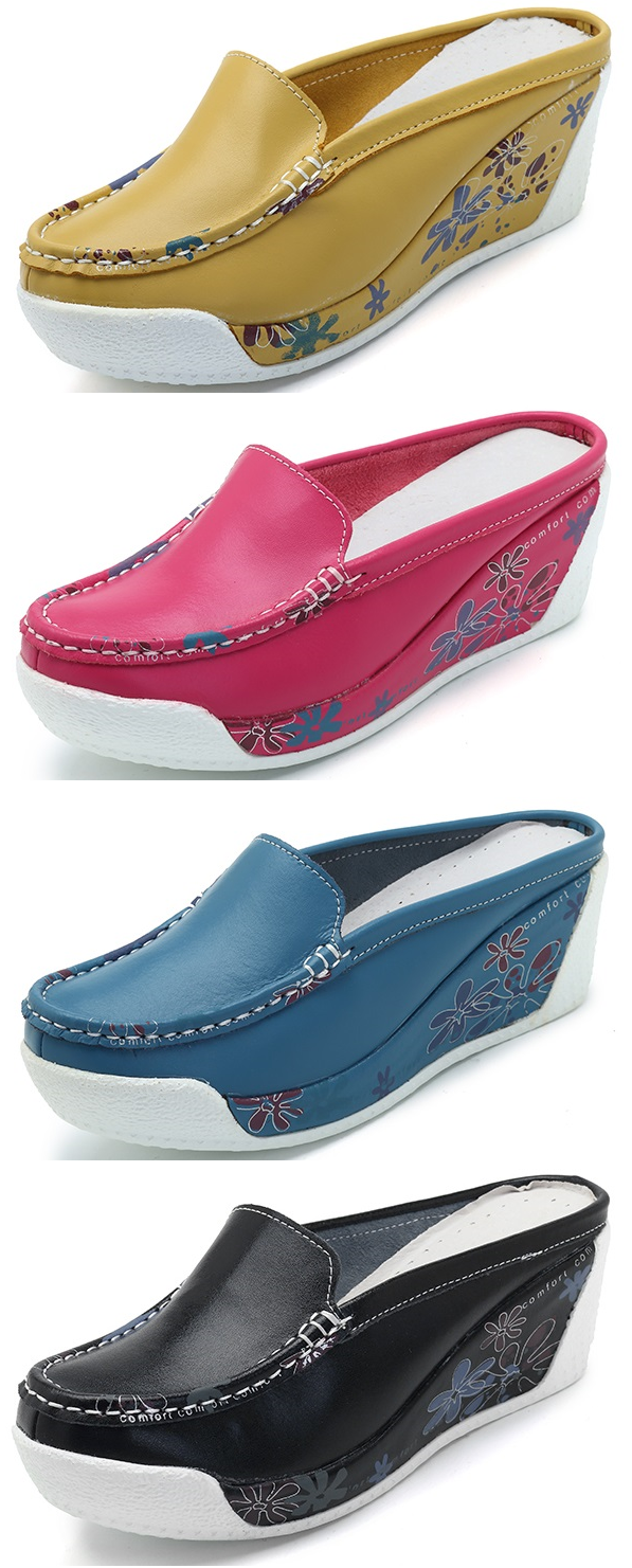 ed7d4c35ae218 47% OFF! US 36.65 Floral Platform Backless Slip On Casual Shoes ...