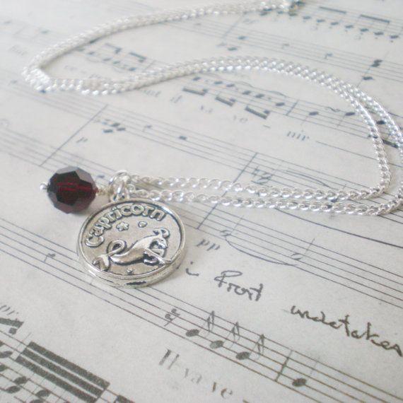 Capricorn necklace January birthstone necklace by jcudesigns, £8.50