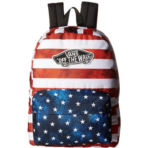 0d374563f29c4 Vans Realm Backpack (American Flag) Backpack Bags ($38) ❤ liked on Polyvore  featuring bags, backpacks, strap bag, vans rucksack, american flag bag, ...