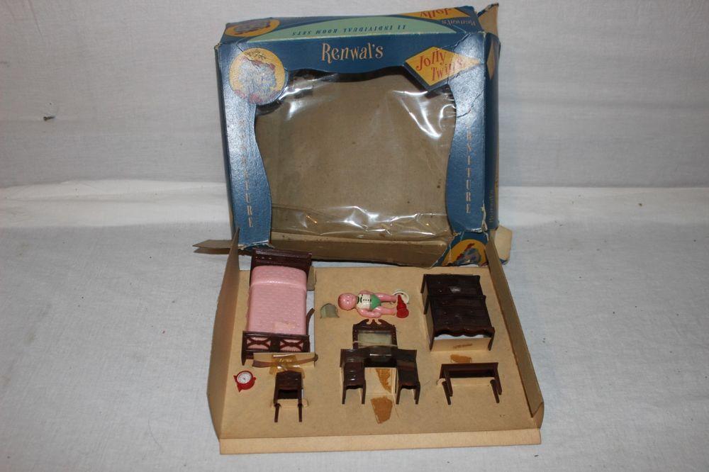Vtg Renwal Jolly Twins Bedroom Set In Original Box Plastic Dollhouse