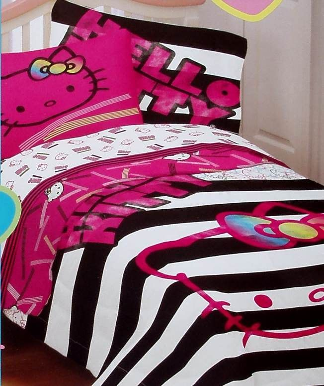 Hello Kitty Neon Pink Black White Full Size Comforter Sheets 5pc