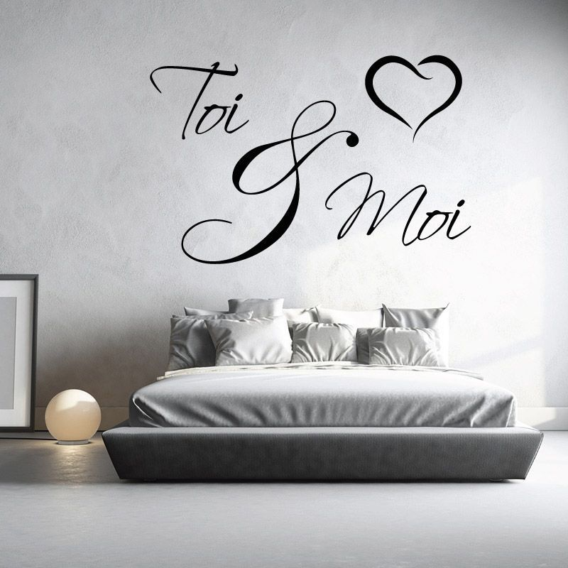sticker mural toi et moi d comotif d co chambre. Black Bedroom Furniture Sets. Home Design Ideas