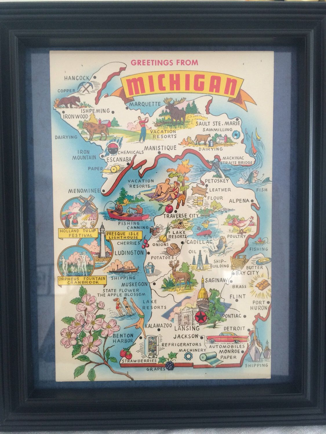 A personal favorite from my Etsy shop https://www.etsy.com/listing/502604272/8-x-10-framed-vintage-michigan-map
