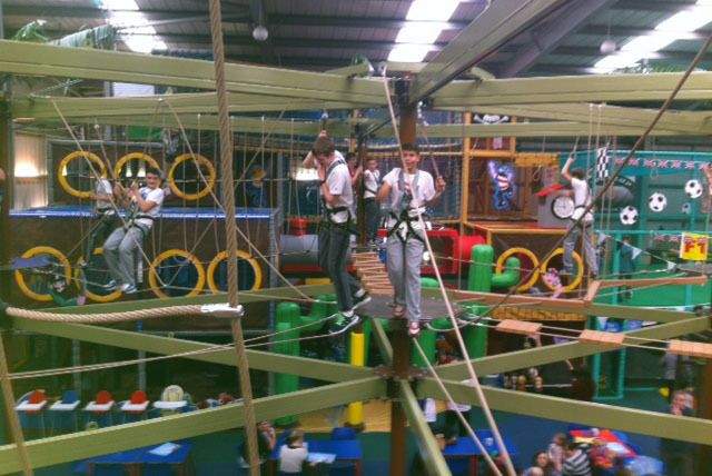 Enjoy an exhilarating indoor high ropes experience.